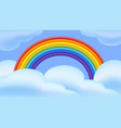 rainbow and clouds in flat style multicolor vector image