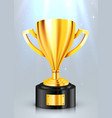 realistic golden trophy with light beam award cup vector image vector image