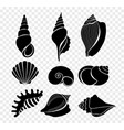set seashells silhouettes vector image vector image