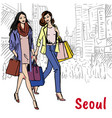 shopping street at myeongdong vector image vector image