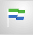 sierra leone waving flag design background vector image vector image