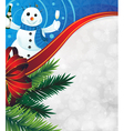 Snowman with a bottle of champagne vector image