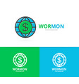 world and dollar logo combination vector image vector image