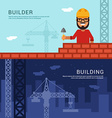 Builder and Building in Flat Design Style for Web vector image
