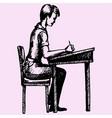 schoolboy sitting vector image