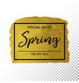 spring sale background on gold sparkle background vector image