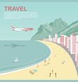 airplane flying over copacabana beach in rio vector image