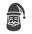santa claus face glyph icon new year christmas vector image
