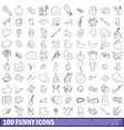 100 funny icons set outline style vector image