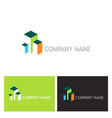 3d building colored logo vector image vector image