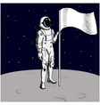 astronaut with flag stands on moon hand drawn vector image vector image