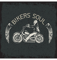 bikers theme grunge label with skeleton on vector image