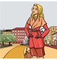 Blonde girl in autumn raincoat vector image