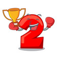 boxing winner number two red isolated on mascot vector image vector image