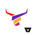 bull head colorful logo bull with long horns vector image vector image