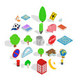 business center icons set isometric style vector image vector image
