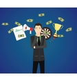 businessman think with money graph goals as a vector image vector image