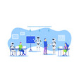 cartoon color characters people and robot office vector image vector image