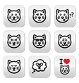 cat buttons set - happy sad angry isolated on wh vector image vector image