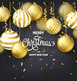 christmas background with tree balls ribbon and vector image
