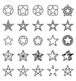 Collection of 25 linear star icons vector image