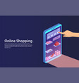 concept online shopping from smartphone vector image vector image