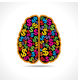 Conceptual idea -Brain with dollar symbol vector image vector image