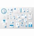 corporate identity template mockup brand blue vector image