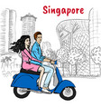 couple on orchard road in singapore vector image vector image