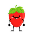 cute cartoon strawberry kawaii strawberry vector image vector image