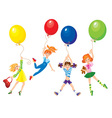 cute girls flying away on balloons vector image vector image