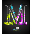 Design Light Effect Alphabet Letter M vector image vector image