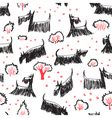 doodle seamless pattern with Scotch Terrier dog vector image vector image