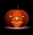 festive luminous pumpkin for halloween on a black vector image vector image