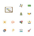 flat icons coin rocket support and other vector image vector image