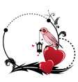 frame with bird and heart vector image vector image