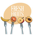 fresh fruits with fork image vector image vector image