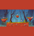 game platform cartoon forest landscape 2d design vector image
