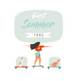 hand drawn cartoon summer time fun vector image vector image