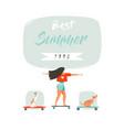 hand drawn cartoon summer time fun vector image