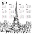 hand drawn eifel tower 2013 calendar paris vector image vector image