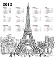 hand drawn of eifel tower 2013 calendar Paris vector image