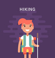 Hiking Concept Smiling Young Girl with Backpack vector image