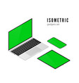 laptop and mobile phone tablet isometric view vector image vector image