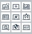 laptop tech service icon set vector image