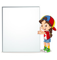 Little girl holding empty sign vector image vector image