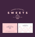 logo cake pastry sweets business card vector image