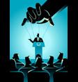 man on podium being controlled puppet master vector image vector image