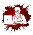 Man works on his laptop cartoon graphic