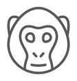 monkey line icon animal and zoo vector image vector image